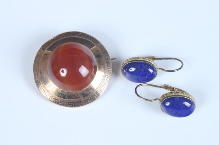 TWO ITEMS VINTAGE YELLOW GOLD AND COLORED HARDSTONE JEWELRY ,