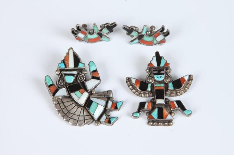 THREE PIECES AMERICAN SOUTHWEST INDIAN SILVER, TURQUOISE, CORAL, BLACK ONYX AND MOTHER-OF-PEARL JEWELRY,