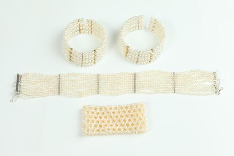 FOUR ITEMS WHITE PEARL JEWELRY,