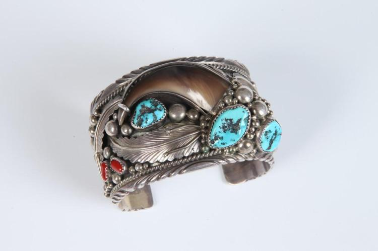SIGNED NAVAJO SILVER, TURQUOISE, BEAR CLAW, AND CORAL OPEN-END CUFF BRACELET, Made by Jackie Singer (signed with initials