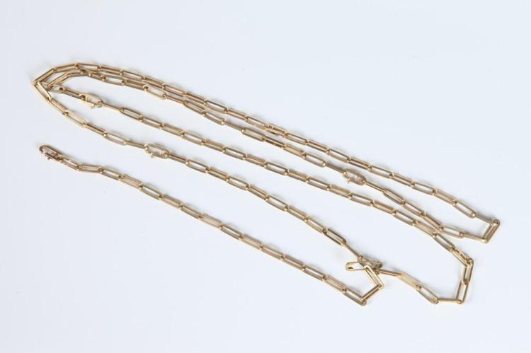 CONTINENTAL 14K YELLOW GOLD OBLONG LINK FLEXIBLE CHAIN NECKLACE CONVERTIBLE TO SHORTER NECKLACES OR SIX BRACELETS, probably Dutch. - L: