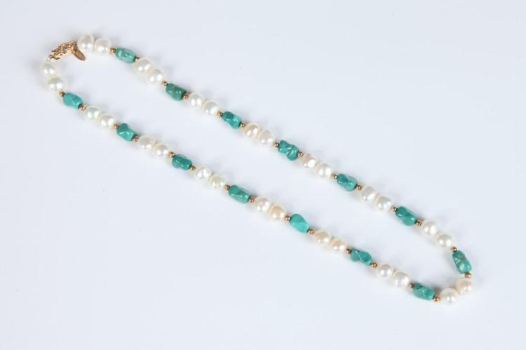 14K YELLOW GOLD, FRESH WATER PEARL AND CHUNK GREEN TURQUOISE BEAD CHOKER, - L: 16 in.