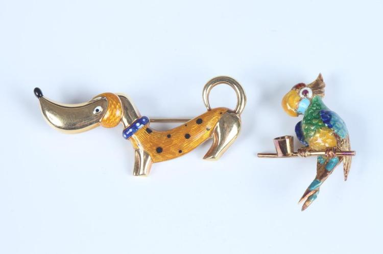 TWO 1960S ITALIAN 18K YELLOW GOLD AND ENAMEL WHIMSICAL ANIMAL PINS.