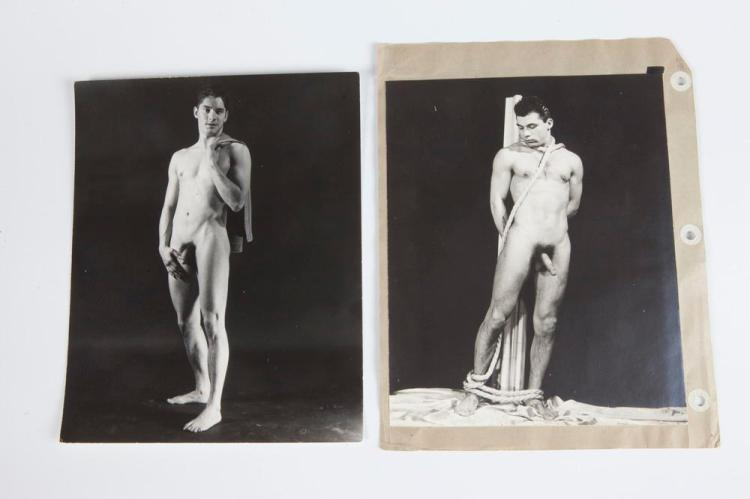 FOUR PHOTOGRAPHS OF NUDE MEN, GAY INTEREST, circa 1960. - Each, 10 in. x 8 in.