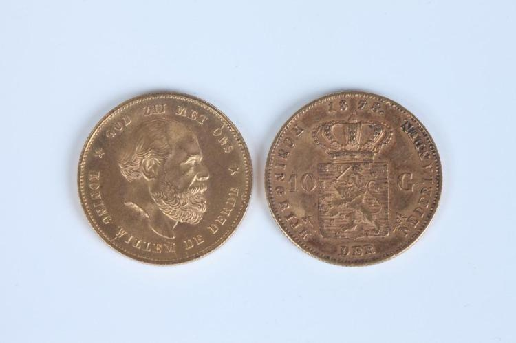 TWO 19TH CENTURY DUTCH TEN-GUILDERS GOLD COINS, 1875 and 1879.