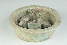 CHINESE GREEN GLAZED POTTERY MODEL OF GOAT PAN, Eastern Han Dynasty (25-220). - 8 5/8 in. diam.