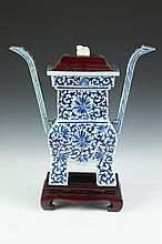 CHINESE BLUE AND WHITE PORCELAIN CENSER. Qing Dynasty. - 14 in. high.