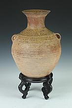 CHINESE POTTERY JAR, Late Western Han Dynasty (206 BC-23 AD). - 13 in. high.
