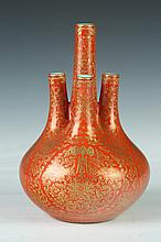CHINESE IRON RED PORCELAIN FIVE-SPOUTED VASE, Qianlong iron red seal mark. - 7 1/4 in. high.