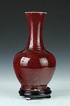 CHINESE COPPER RED PORCELAIN VASE. 19th Century. - 14 in. high.