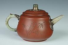 CHINESE YIXING AND JADE TEA POT, Yu Xishan maker's mark. - 6 1/4 in. long.
