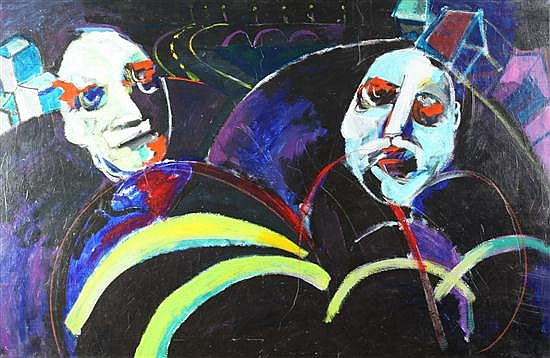 EZEQUIEL PADILLA (Honduran, b. 1944). LO URBANO, signed, titled and dated 1992 on label verso. Oil on canvas.