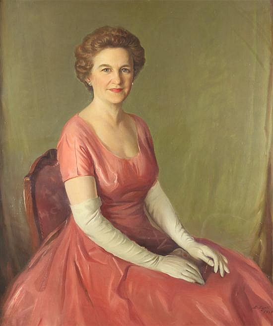 BJORN EGELI (Norwegian/ American, 1900-1984). PORTRAIT OF DOROTHY BETTS MARVIN, signed and dated 1957 lower right. Oil on canvas.