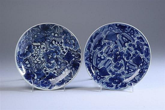 PAIR CHINESE BLUE AND WHITE PORCELAIN DISHES, Circa 1850. - 7 in. diam.