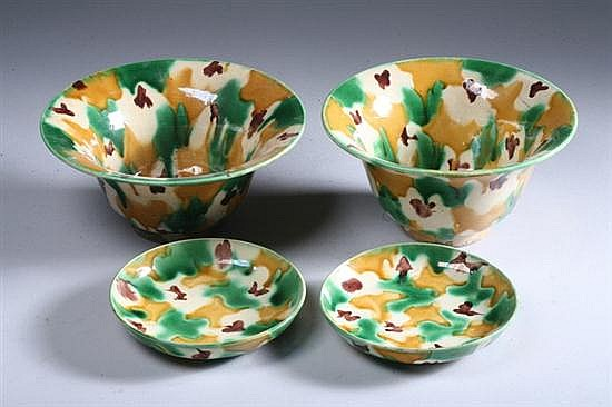 PAIR CHINESE EGG AND SPINACH SOFT PASTE PORCELAIN BOWLS AND SAUCERS, Qing Dynasty. - 7 in. diam.