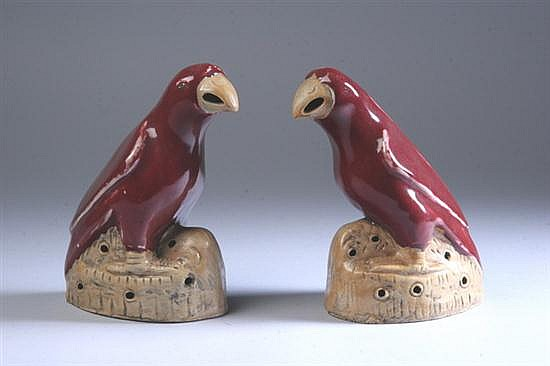 CHINESE EXPORT COPPER RED AND OCHRE PORCELAIN FIGURES OF BIRDS. - 7 3/4 in. high.