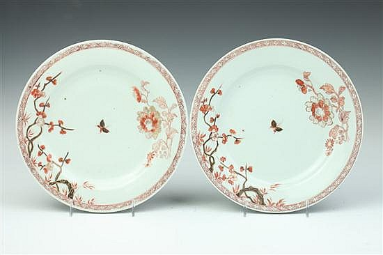 PAIR CHINESE EXPORT IRON RED AND GILT PORCELAIN PLATES, 18th Century. - 9 in. diam.