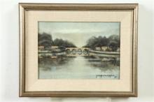 JEAN PIERRE CAPRON (French, 1921-1997). BRIDGE, signed and dated '55 lower right. Oil on canvas.