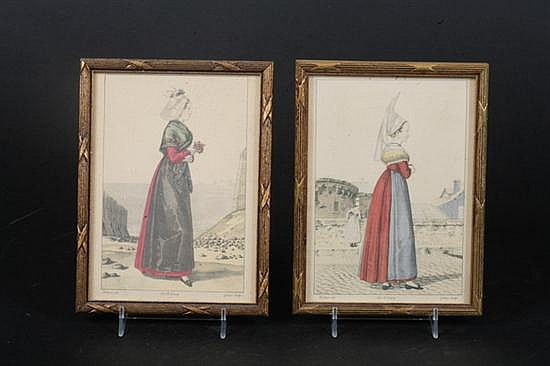 GEORGES JACQUES GATINE (French, 1773-1825). Costume Studies: Seven Works, Lithographs, after the originals by Benoit Pécheux. Framed.