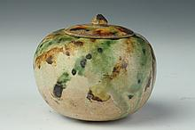 CHINESE SANCAI POTTERY JAR AND COVER, Tang Dynasty. - 3 1/2 in. diam.