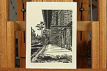 UNICHI HIRATSUKA. (Japanese, 1895-1997). HOUSE, Woodblock print.