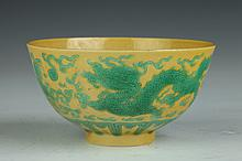 CHINESE GREEN AND YELLOW PORCELAIN DRAGON BOWL, Tongzhi six character black mark. - 4 1/4 in. diam.