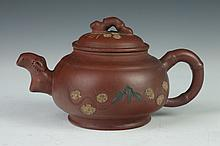 CHINESE YIXING TEA POT, Four character maker's mark. - 7 in. long.