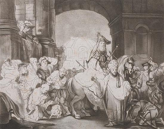 JOHANN ELIAS HAID (German, 1739-1809). THE TRIUMPH OF MORDECAI, After the etching by Rembrandt. Etching and aquatint.