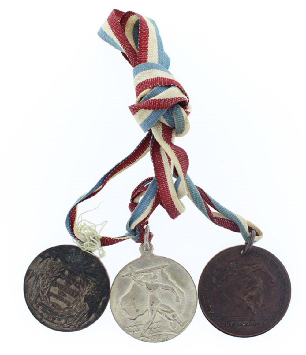WWI & WWII Australia. 1918 Peace, 1938 Sesqui-Centenary & 1945 Victory Medalets, All Extremely Fine or better (3 items)