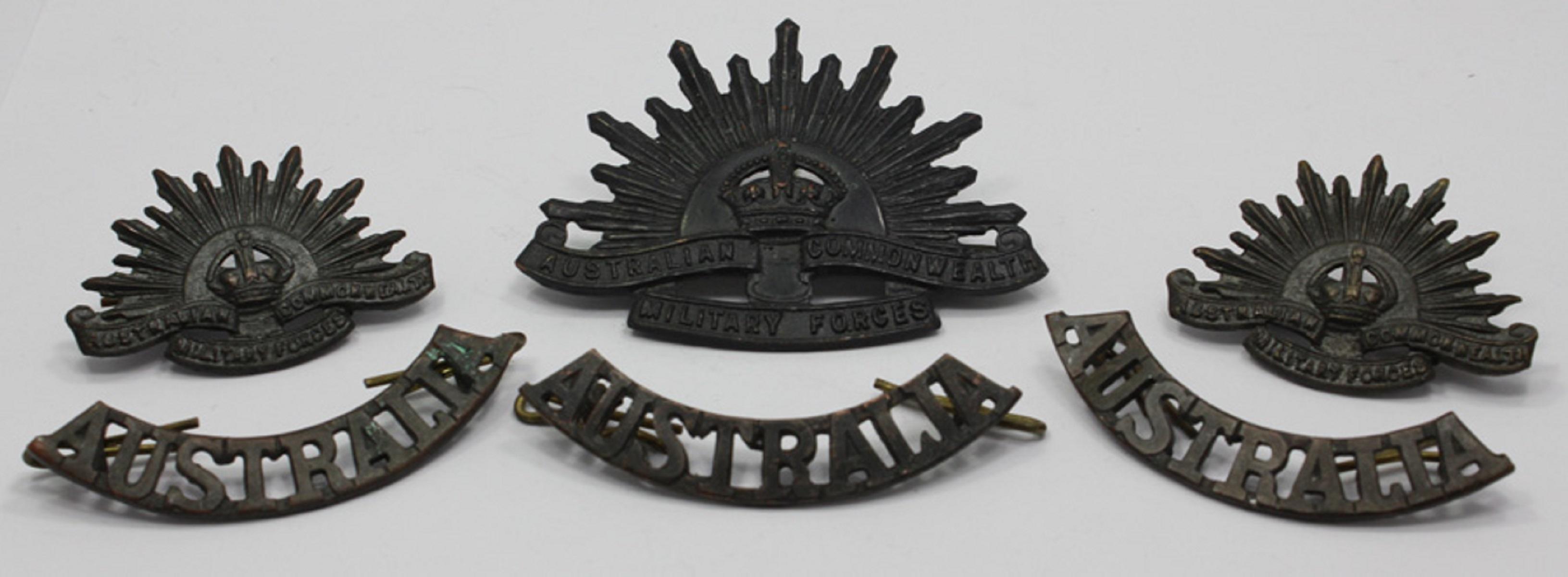 Australia. 'Rising Sun' - Large (1), Small (2) & 'AUSTRALIA' Shoulder Badges (3)(6 items in total)