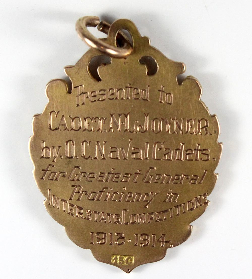 "WWI Australia. 15ct Gold Fob ""Presented to/Cadet N.L. Joyner./by O.C. Naval Cadets./for Greatest General/Proficiency in/Interstate Competitions/1913-1914"", Extremely Fine"