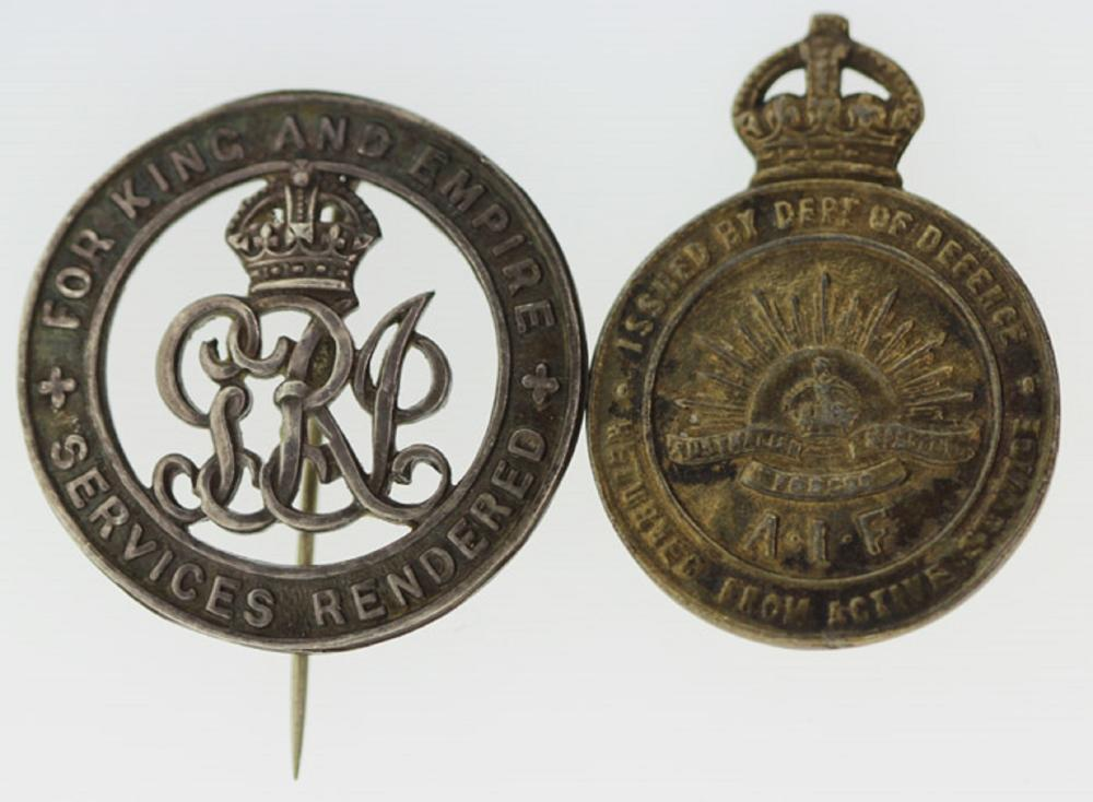 WWI Australia. 'For King and Empire - Services Rendered' Badge & 'A.I.F Returned from Active Services' Badge (2 items)