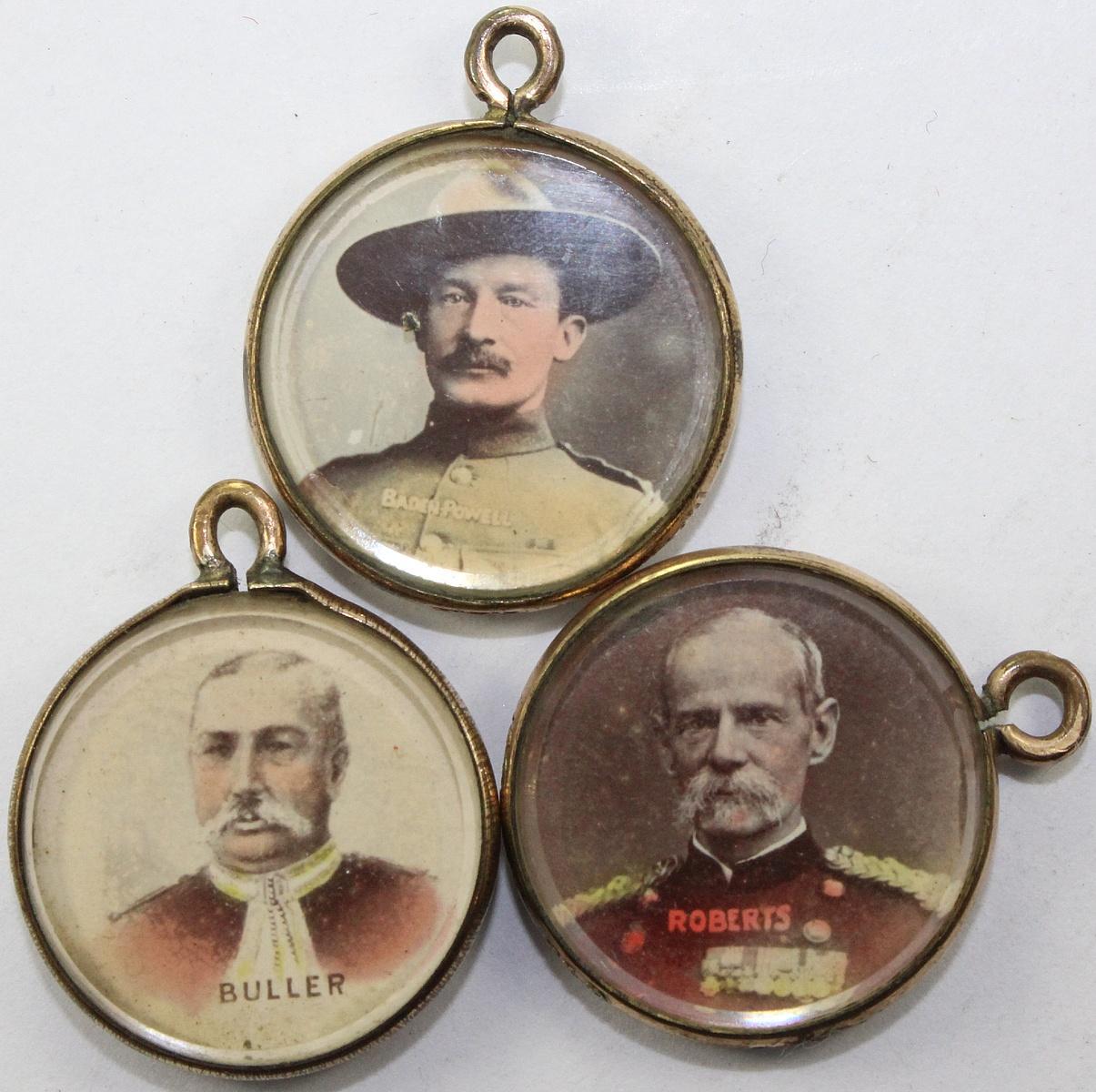Britain. Patriotic Fobs featuring Queen Victoria and Boer War heroes 'Baden Powell,' 'Roberts' & 'Buller' (3 items)