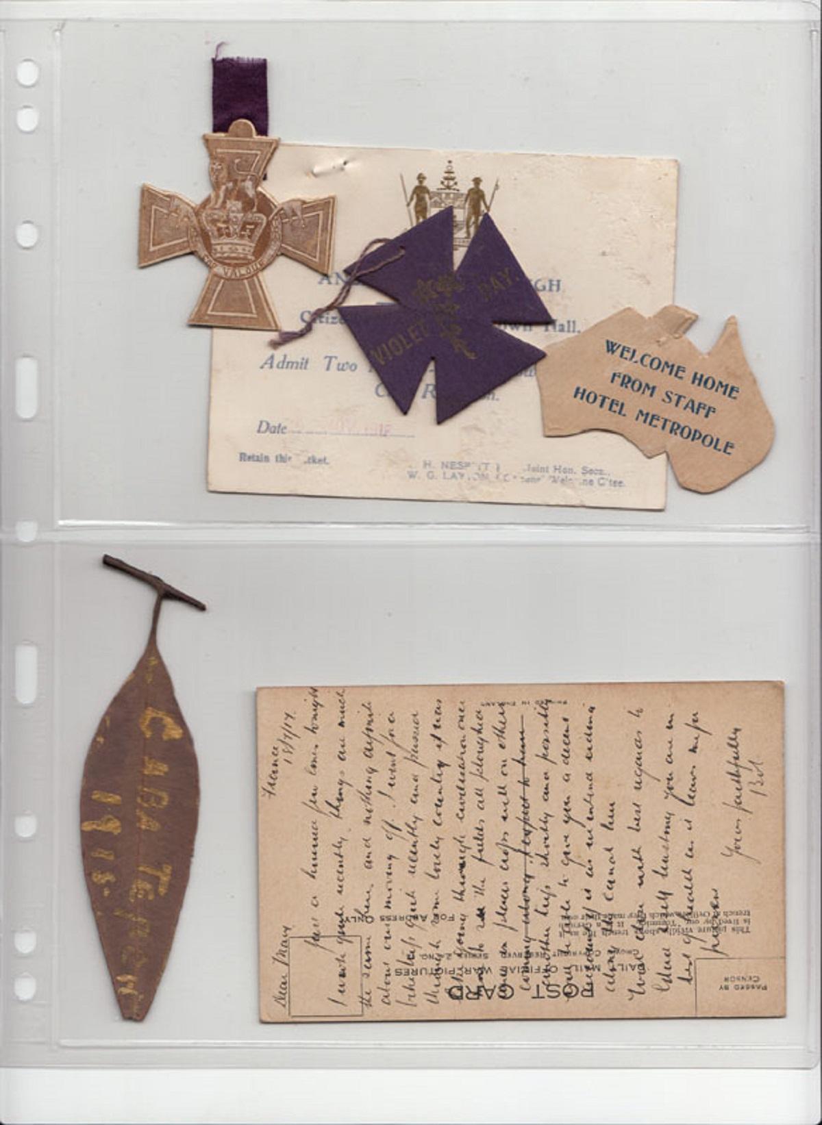WWI Australia. Ephemera including the signature of William Jackson V.C. on a souvenir cardboard replica of a Victoria Cross