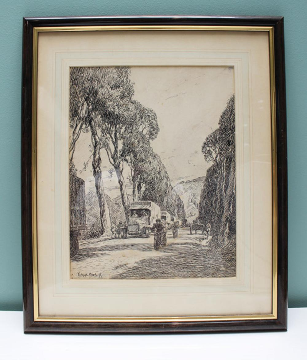 "WWI Australia. An important original Pen Drawing of 'A Road in France' by Australian Artist (Sergt) Penleigh Boyd featured in ""Salvage"" (a facsimile copy is included)"