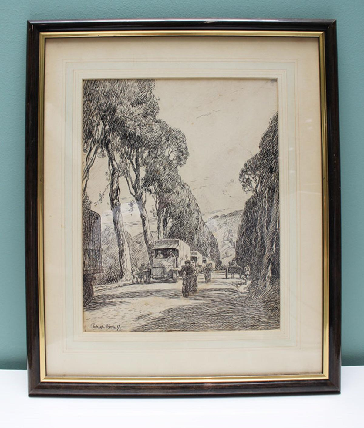 """WWI Australia. An important original Pen Drawing of 'A Road in France' by Australian Artist (Sergt) Penleigh Boyd featured in """"Salvage"""" (a facsimile copy is included)"""