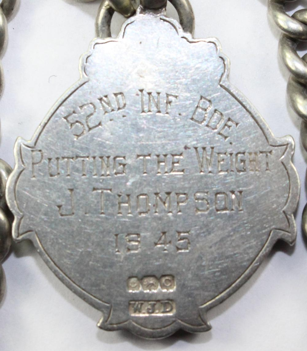 Britain. Sterling (0.925) Silver Sporting Fob with Gold Shield on a Sterling Silver Watch Chain