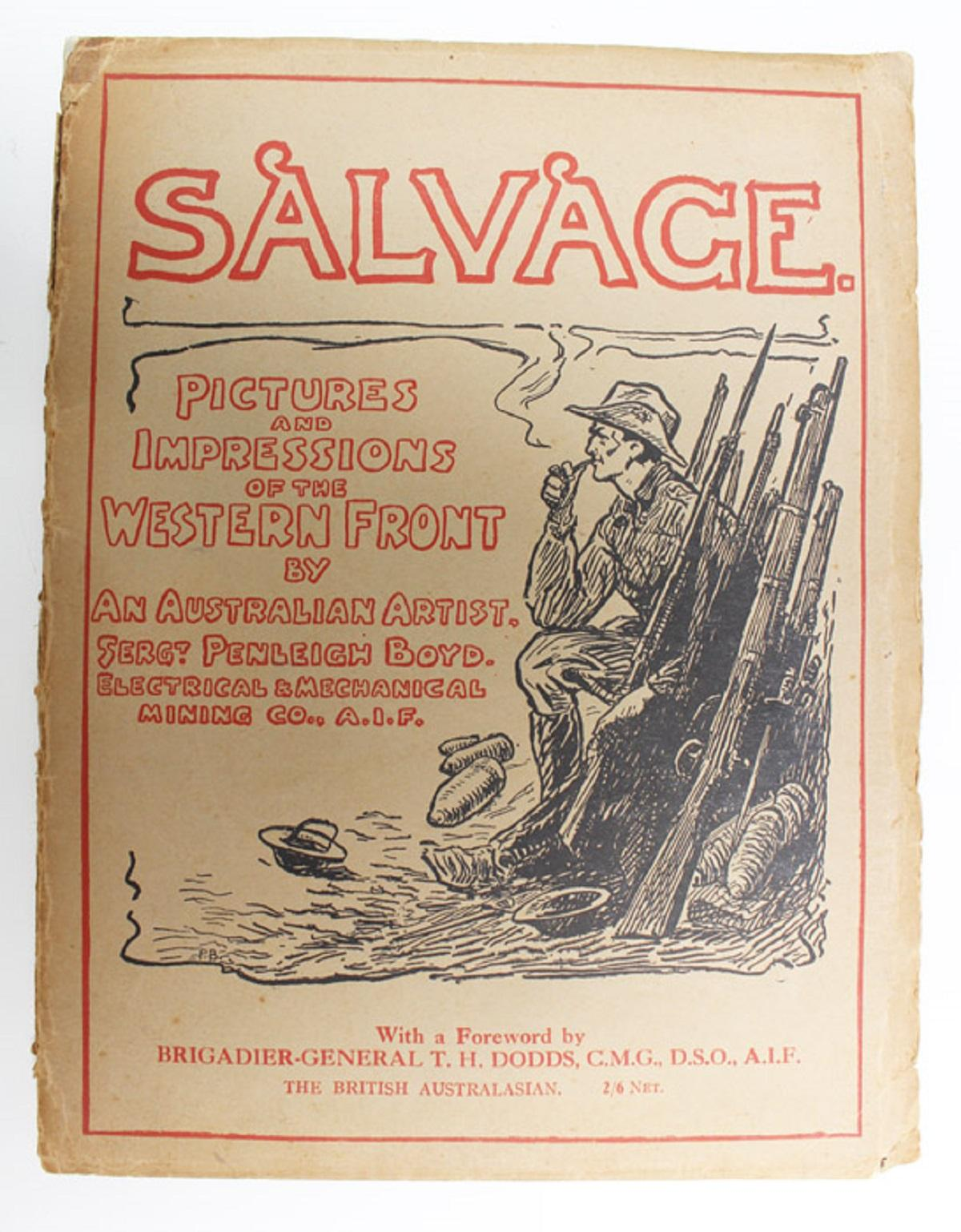 """WWI Australia. Original 1918 published copy of """"Salvage. Pictures and Impressions of the Western Front by an Australian artist, Sergt Penleigh Boyd. Electrical & Mechanical Mining Co. A.I.F."""""""