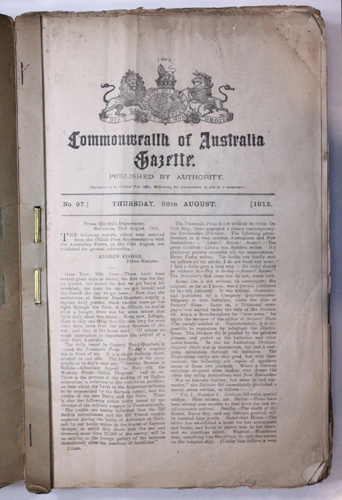 WWI Australia. Copies of the 'Commonwealth of Australia Gazette' spanning the period Thursday, 26th August 1915 to Friday, 17th May 1918