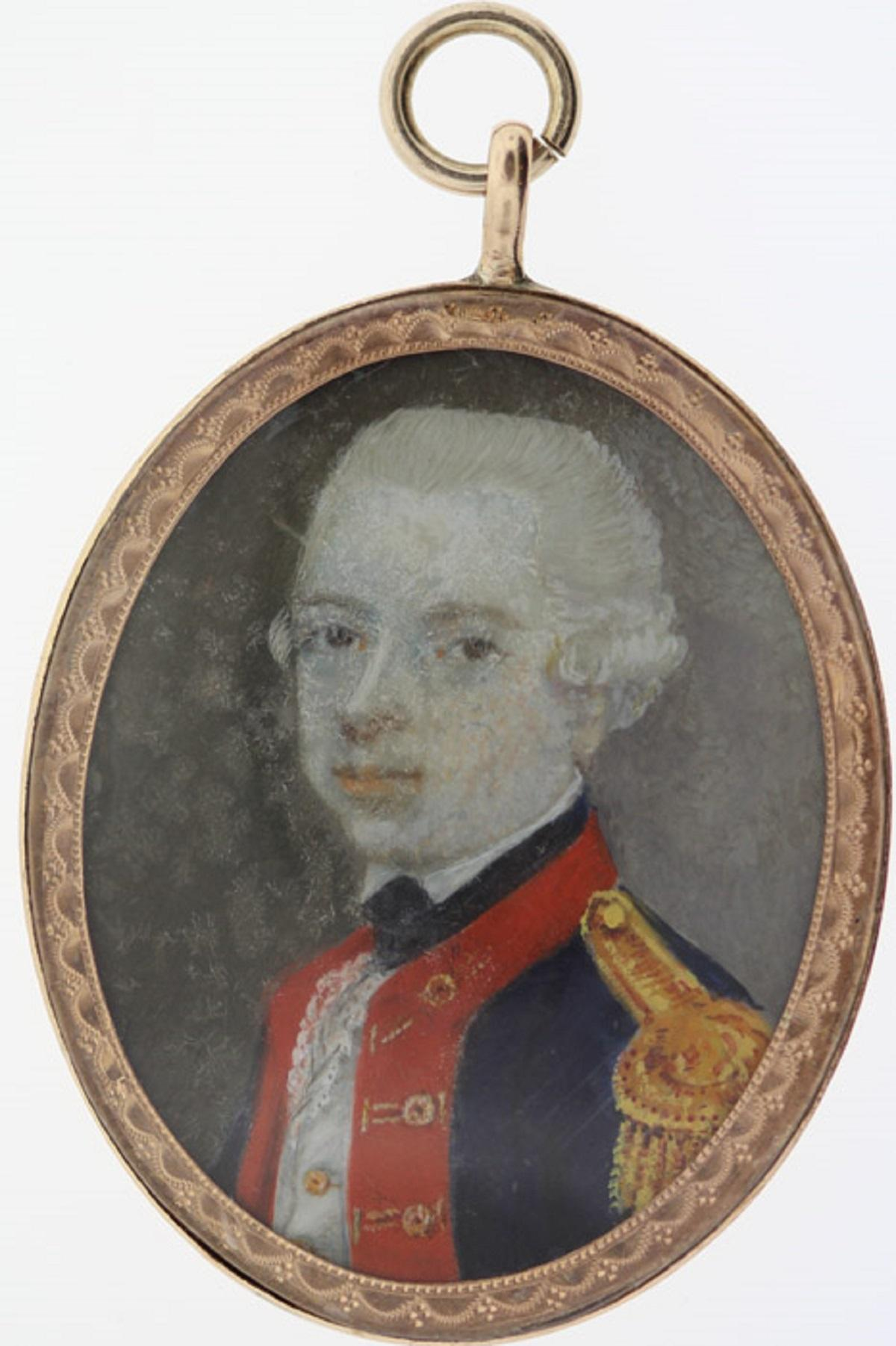 British India. 18th Century Miniature of a British Officer in a Gold Surround (tests 10ct)