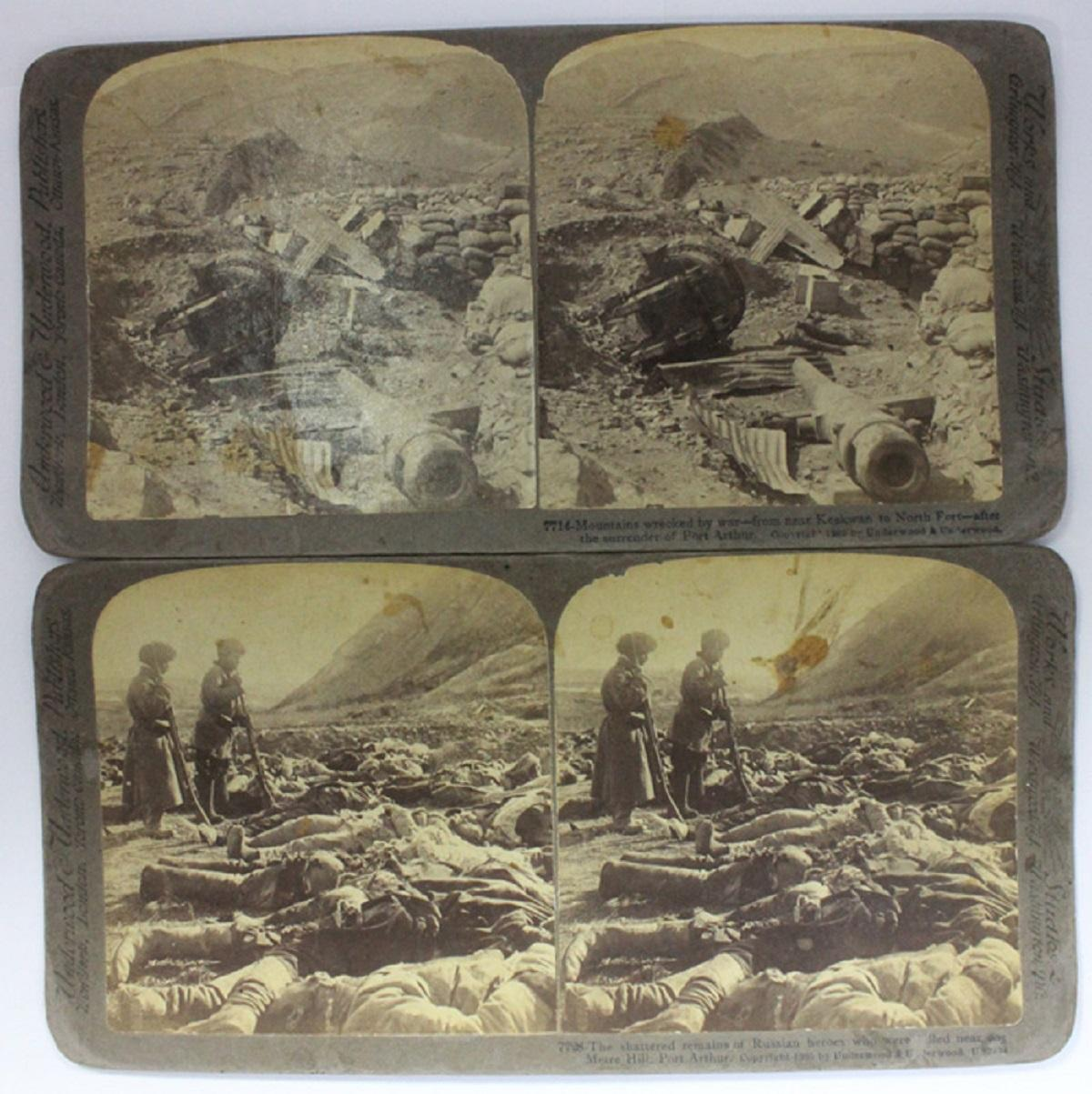 Stereo Cards Russo-Japanese War - Battle of Port Arthur, Manchuria (2 cards)