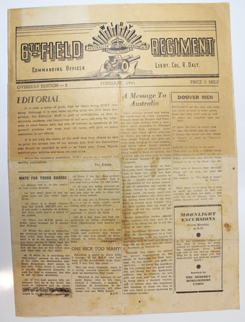 "WWII. Australia ""Wiry"" Newspaper of the 6th Field Regiment - Australian Commonwealth Military Forces"" Overseas Edition 2 , February 1941, Extremely Fine"