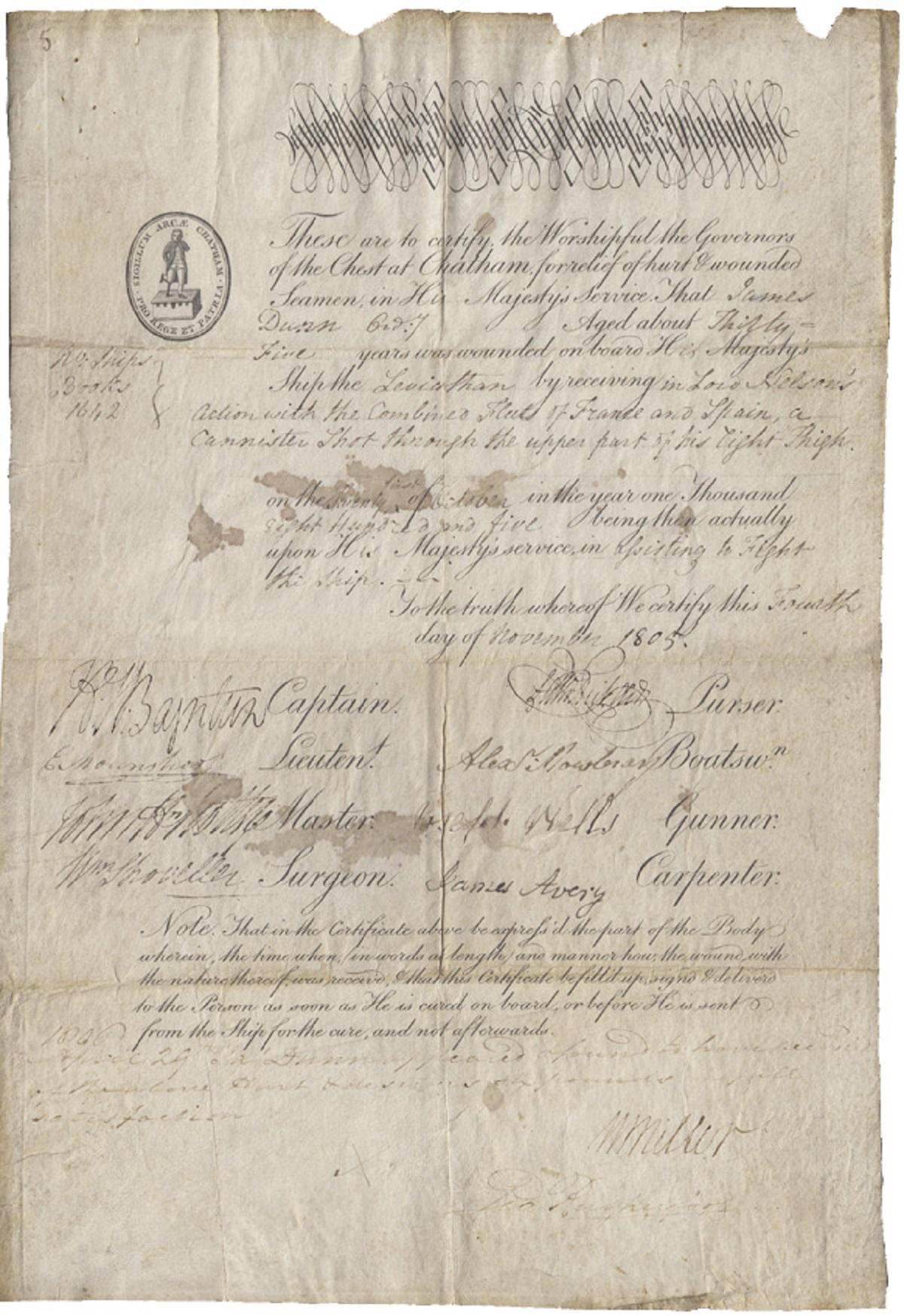 Britain. Battle of Trafalgar, (1805) - Chest at Chatham Document, Very Fine