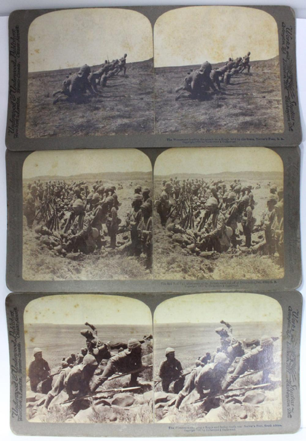 Stereo Cards Boer War - Dordrecht (1 ), Kopje, Norval's Pont (2 ) (3 cards in total)