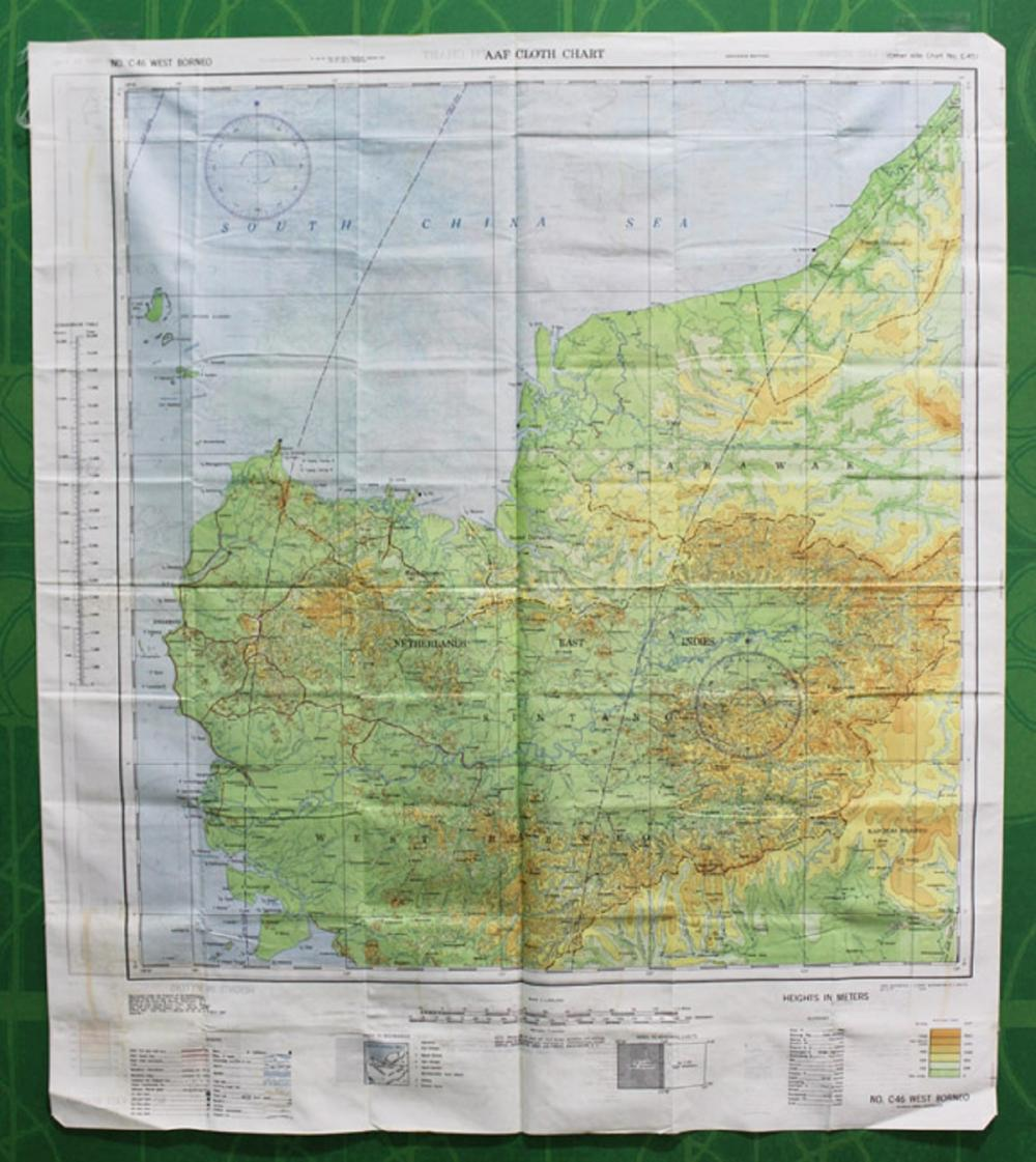 WWII U.S. A(rmy) A(ir) F(orce) Cloth Map of the Borneo with colour