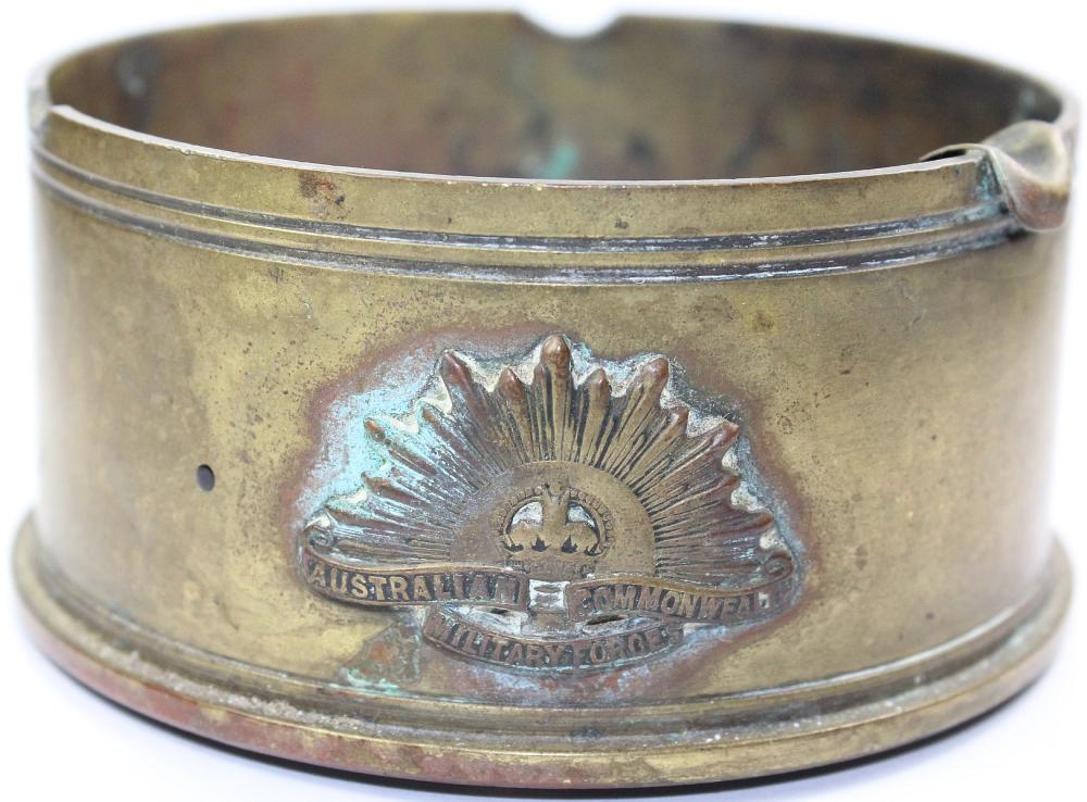 WWI Australia. 'Trench Art' Ashtray made from a Shell Casing