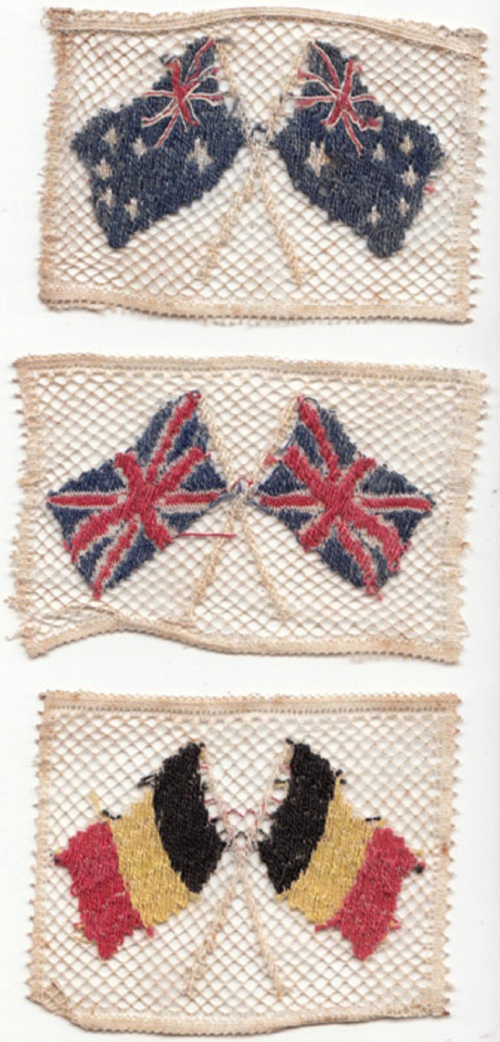 WWI. Vintage crocheted flags of Australia, Great Britain & Belgium (3 items)