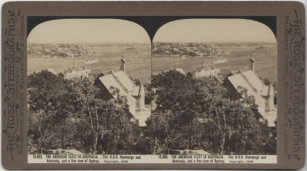 Australia/USA. Stereo Card of the First Visit of the American Fleet to Sydney in August, 1908