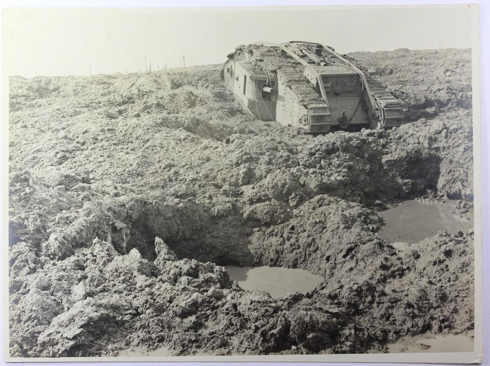 WWI Australia. 'Trench Art' Tank with Contemporary Photograph of a disabled Tank at Ypes (Belgium) 1917