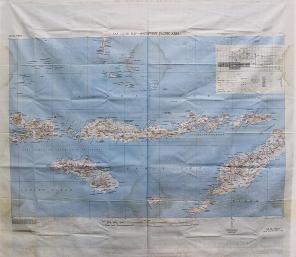 WWII U.S. A(rmy) A(ir) F(orce). Cloth Map of South West Pacific Area. Very good condition with only slight staining